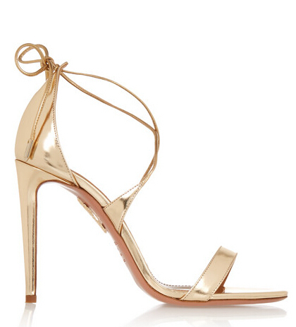 Brand 2017 New Gold Leather High Heels Simple Women Sandals Wedding Shoes