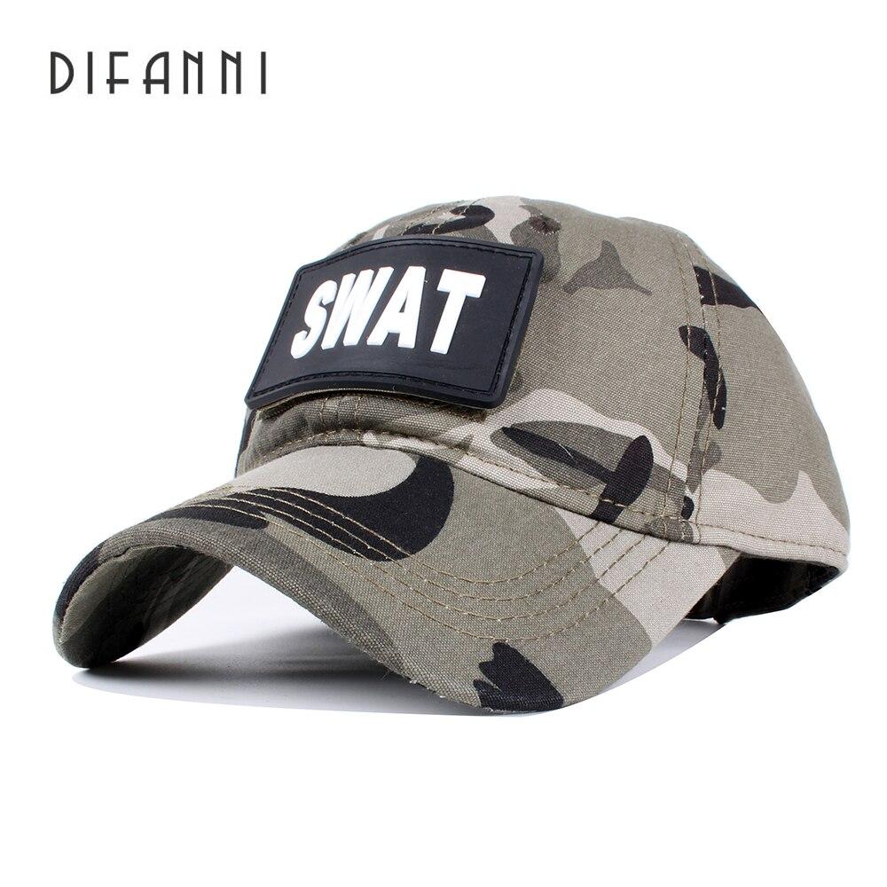 3aced7c4f6829 Difanni Fuerza Especial SWAT Tactical CAPS marca gorra de béisbol ee.uu. SWAT  CAMO camuflaje sombreros gorras planas sombrero en Gorras de béisbol de ...