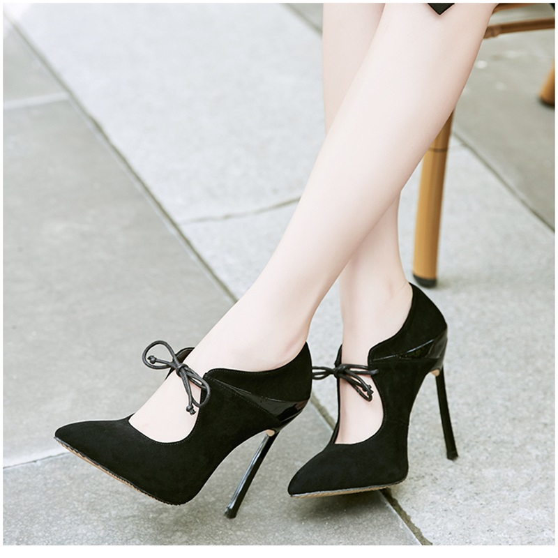 2018 Spring Autumn Fashion Women Thin stiletto Pumps Flock Lace-up Pointed Toe High Heels Office Shoes for Woman xiaying smile woman pumps shoes women spring autumn wedges heels british style classics round toe lace up thick sole women shoes