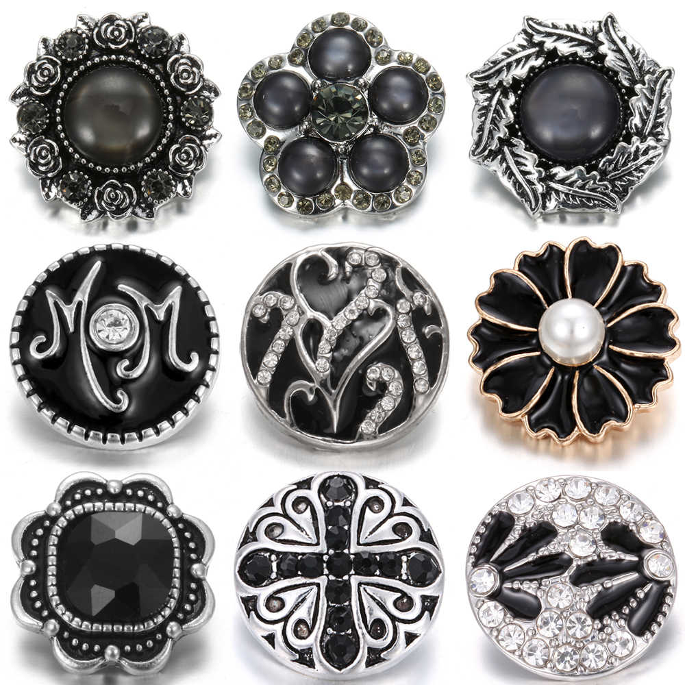 10pcs/lot Wholesale Snap Button Jewelry Mixed Black 18mm Rhinestone Snap Buttons Jewelry Fit Snap Button Necklace Charms Jewelry