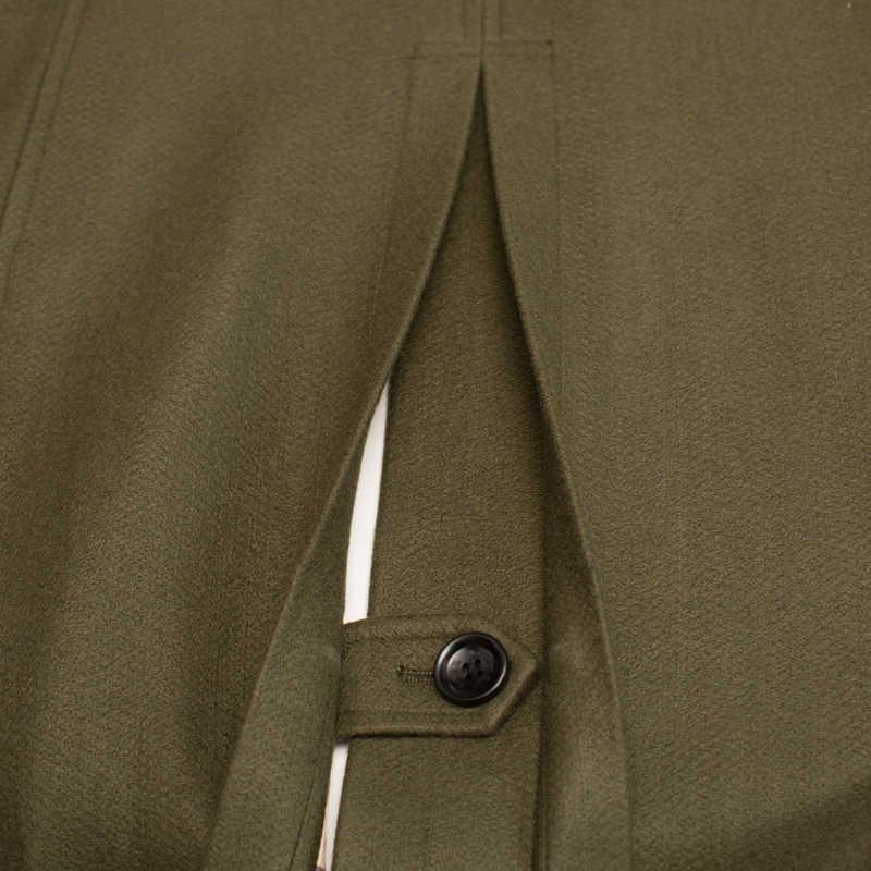 CHAOJUE Extra lange woolen mantel männlichen Britischen zweireiher trenchcoat herren slim fit klassische armee grün warm pea coat