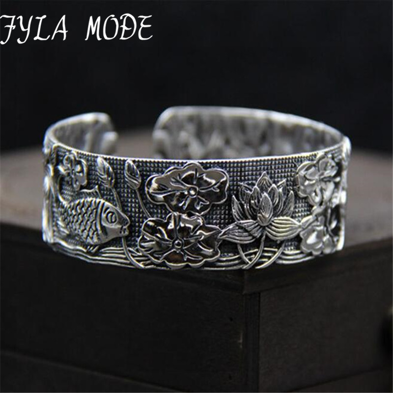Fyla Mode Vintage Bohemia 925 Silver Open Wide Cut Out Lotus Fish Flower Carved Cuff Bangle Adjustable Fashion Jewerly For Women