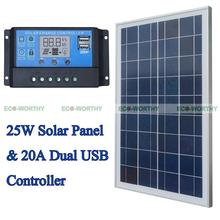 Solar Kits 25W 12V Polycrystalline Solar Panel with 20A PWM Solar Charge Controller Ruglator for Solar Home Use PV System