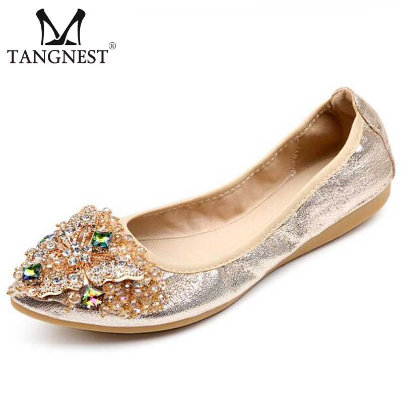 Luxury Brand Women Ballet Flats 2017 Spring New Crystal Women Flats Gold Bling Pu Leather Loafers