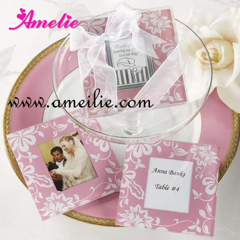 Wholesale Wedding Gifts Pink Color Glass Coasters Photo Frame 2PCS ...