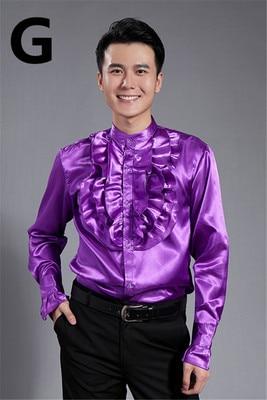 Бесплатная доставка фиолетовый/желтый/белый жатой боути потертостей украшение мужской смокинг рубашки партия/событие рубашки