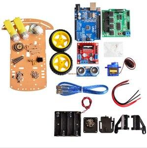 Image 3 - הימנעות מעקב מנוע חכם רובוט רכב שלדת קיט מהירות מקודד סוללה 2WD 4WD קולי מודול עבור Arduino