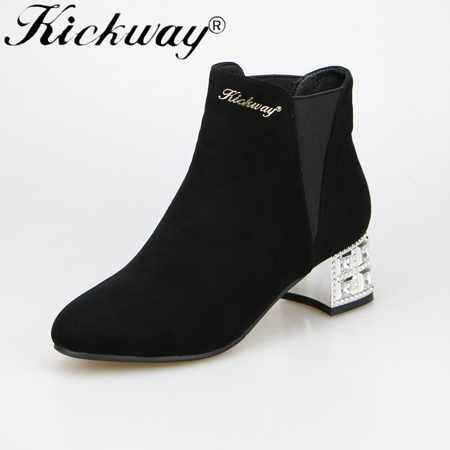 Kickway women ankle boots Elegant martin boots crystal thick heel round toe boots women shoes 2017 new winter black lady shoes