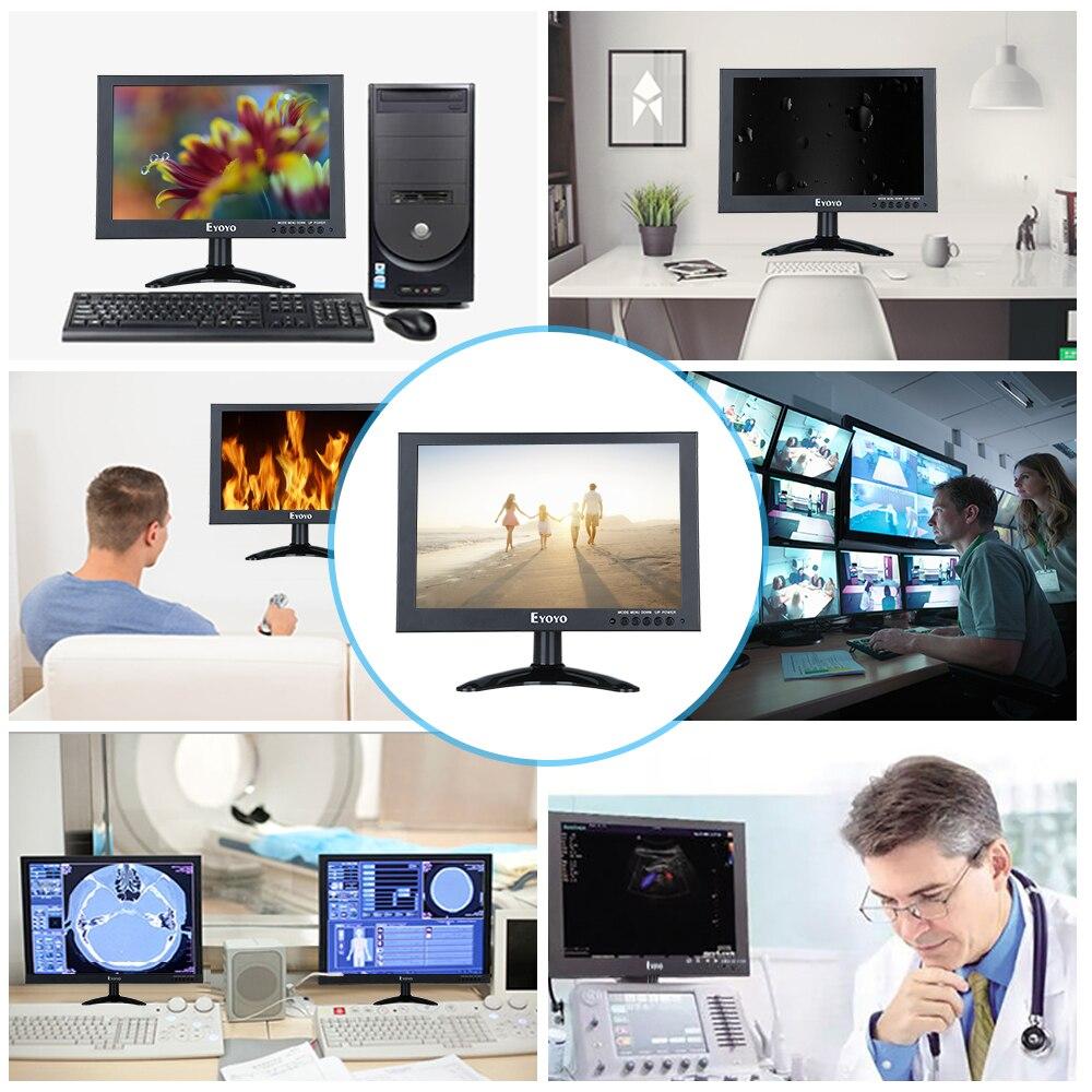 Eyoyo 10inch Full HD 1920x1200 IPS Touch Screen LED Monitor 178degree Black With VGA AV Video Input For PC Laptop DVR DVD Camera