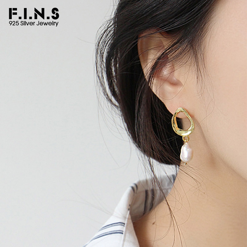 F.I.N.S Earings Silver Sterling 925 Irregular Uneven Earring With Pearl Unique Baroque Cultured Pearl Earrings Women Jewelry