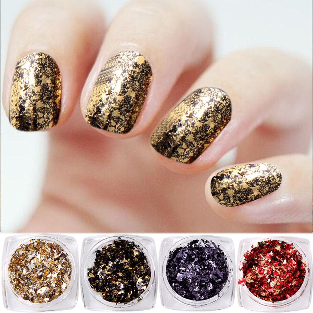 Nail Glitter 1 Box Firework/mirror Two Effect Nail Glitters Pigment Powder Purple White Gold Red Black Dust Diy Manicure Nail Decoration Tool Beauty & Health