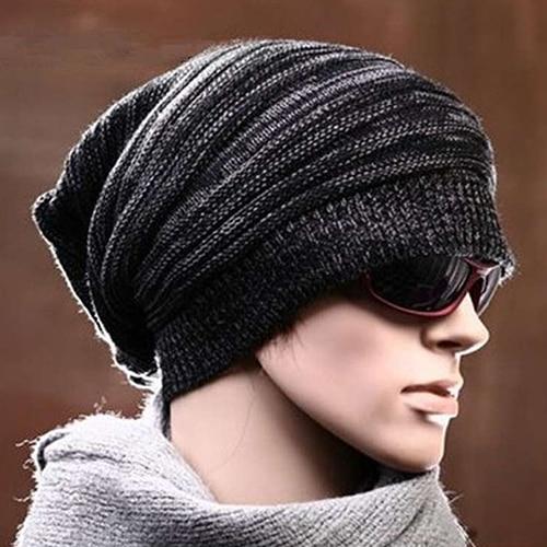 Men's Women's Knit Hip-hop Baggy Beanie Hat Fashion Winter Warm Oversized Cap pentacle star warm skull beanie hip hop knit cap ski crochet cuff winter hat for women men new sale