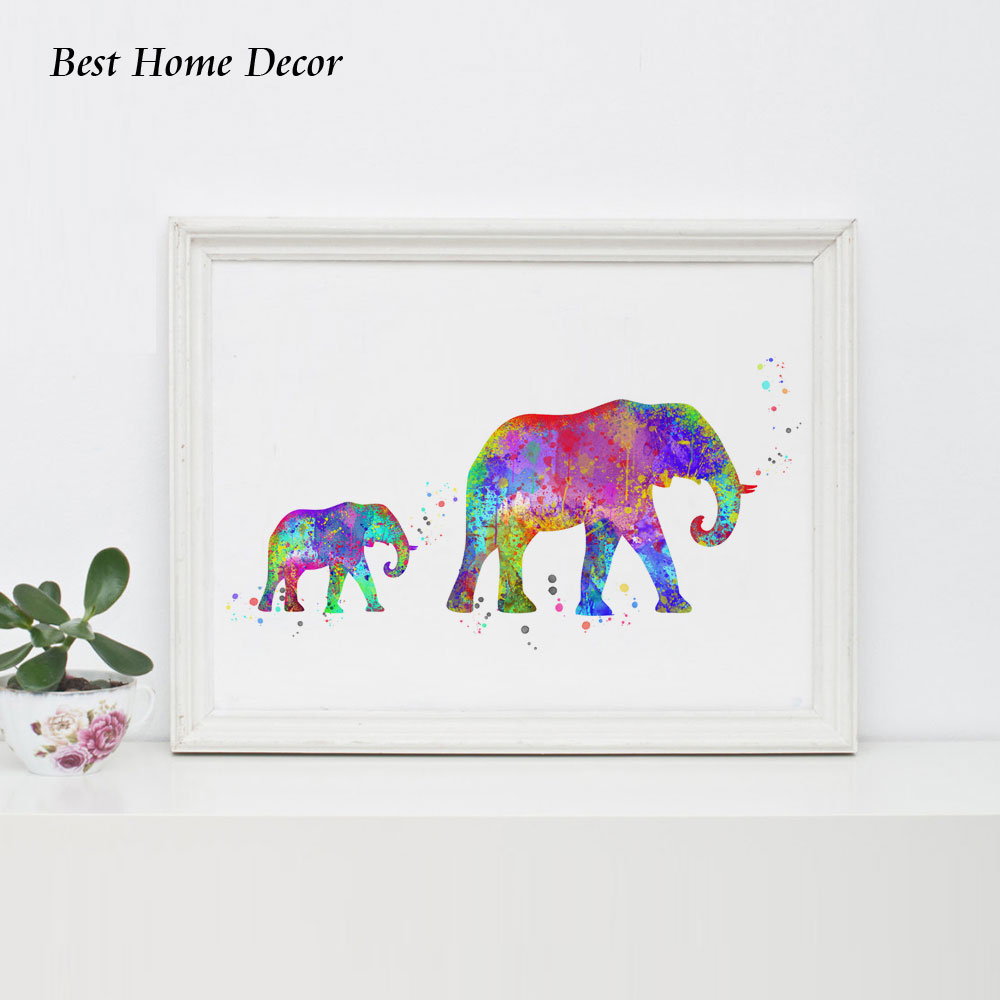 US $5 99  Elephant Art Print Watercolor Baby Elephant Wall Art Wall Hanging  Nursery Decor Paper Family Art Gift Wall Decoration AP073-in Painting &