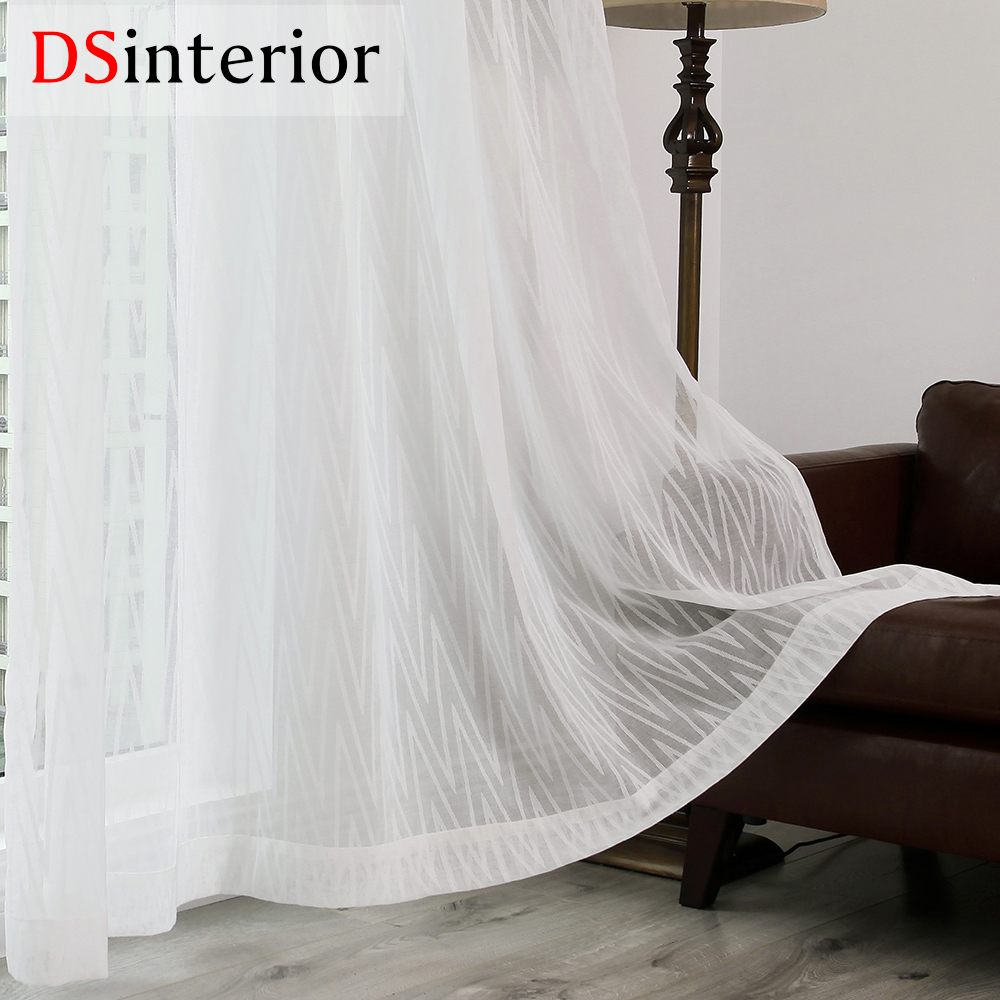 DSinterior Modern Fashion White Color Burnout Tulle Sheer Curtain For Bedroom Or Living Room Window