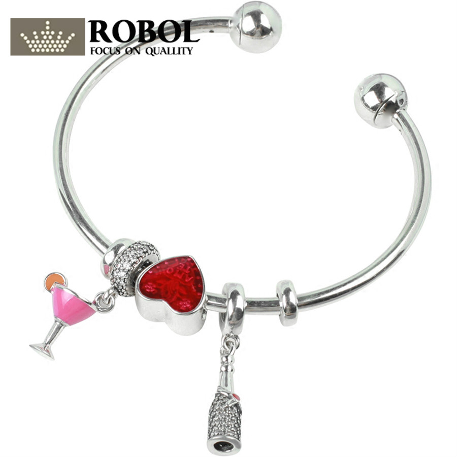ROBOL 100% 925 Sterling Silver Brand New 1:1 Authentic Wine Red Love Charm Hand Ladies Fashion Heart Love Opening Bracelet Set