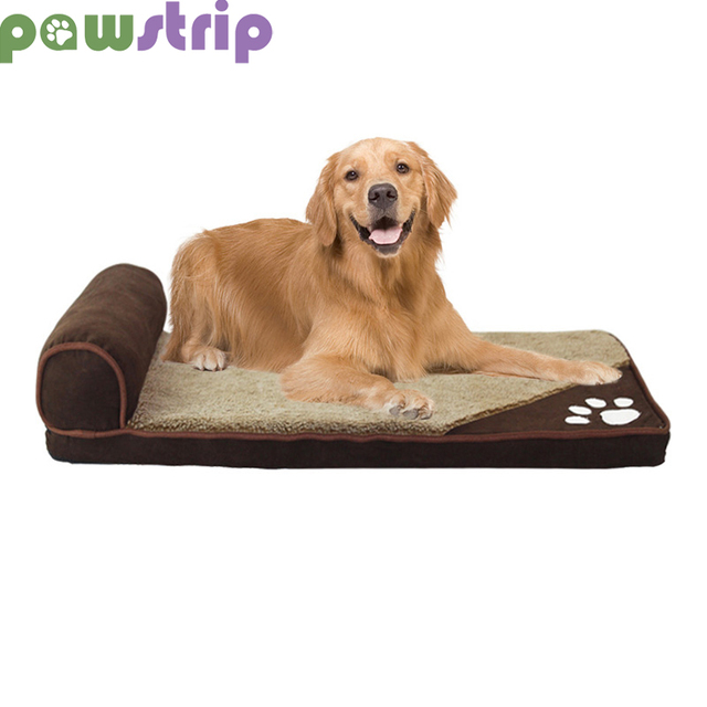 7ecb412f3e63 pawstrip 4 Colors Winter Dog Bed Soft Warm Cat Beds Washable Puppy Sofa Bed  Detachable Pet Cushion For Large Dogs S-XL