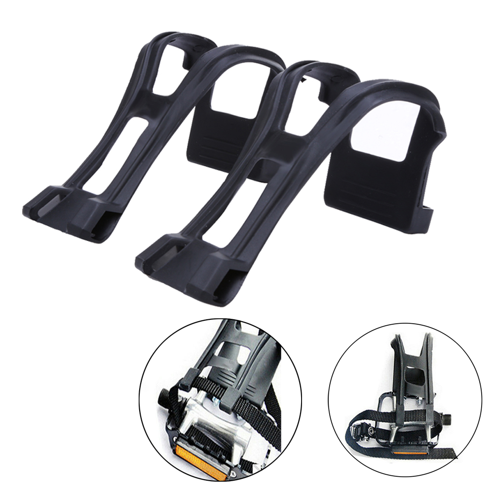 1Pair Cycling Bicycle Strapless Bike Toe Clips Pedal Clips Half Clips Black With Screws Delicate ike Bicycle Accessories