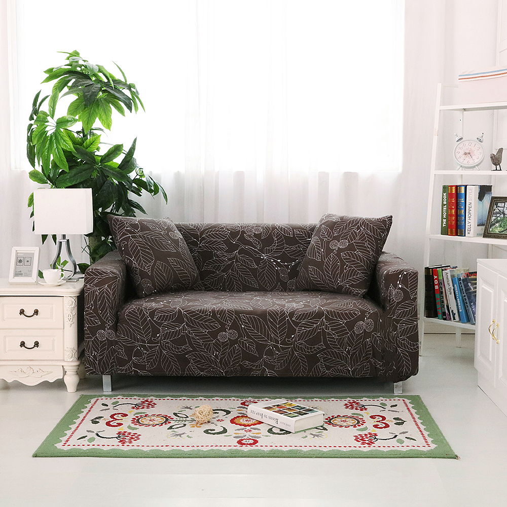 Brown Leave Print Sofa Cover All Inclusive 1/2/3/4 Seater