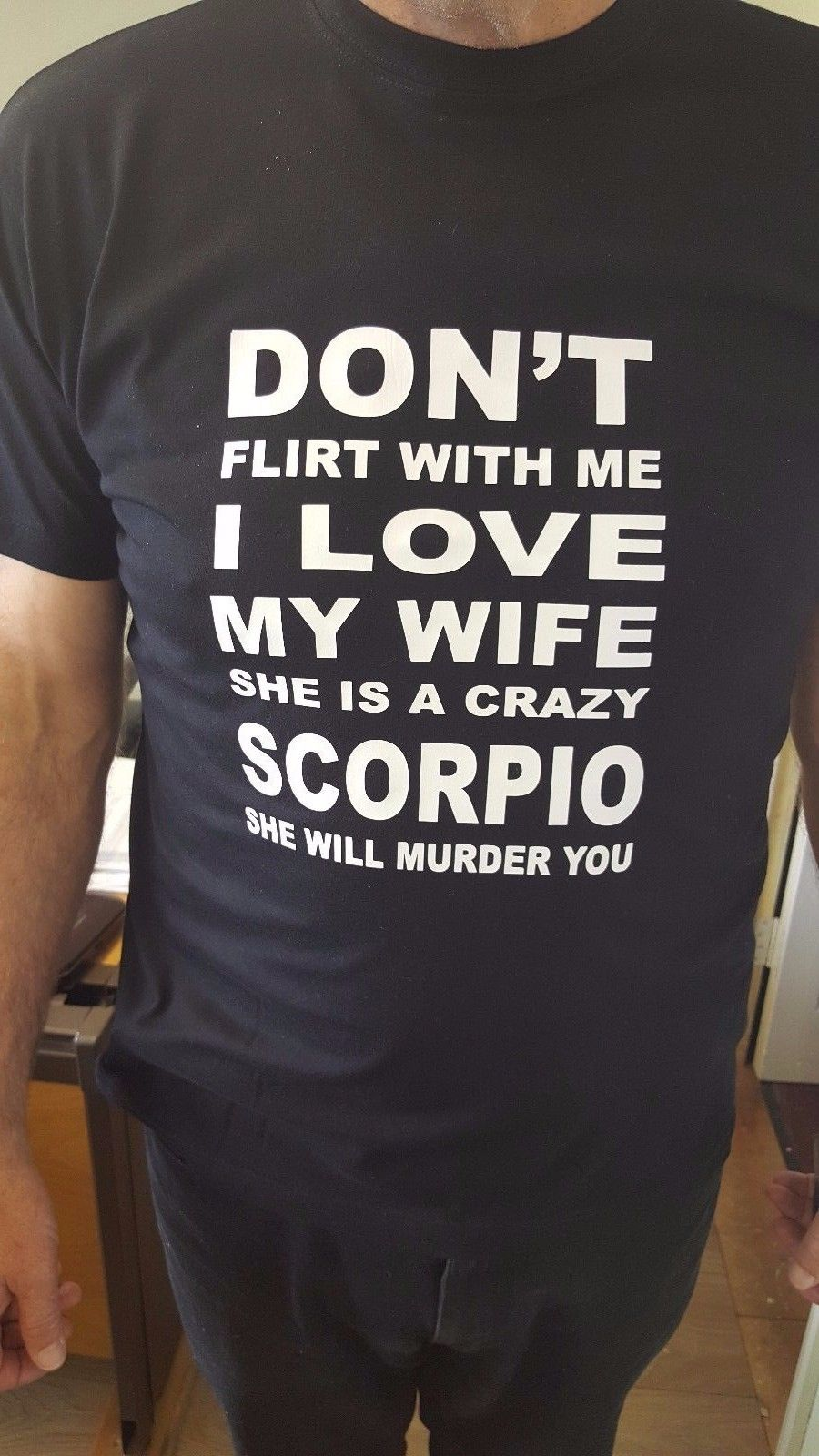 DONT Flirt with me.. She is a crazy Pisces Aries Scorpio Cancer etc... T Shirt New Shirts Funny Tops Tee Unisex