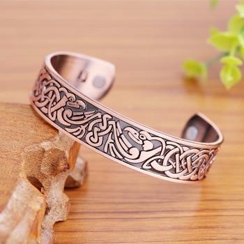 Copper color unisex health therapeutic phoenix pattern magnetic cuff bangles bracelet