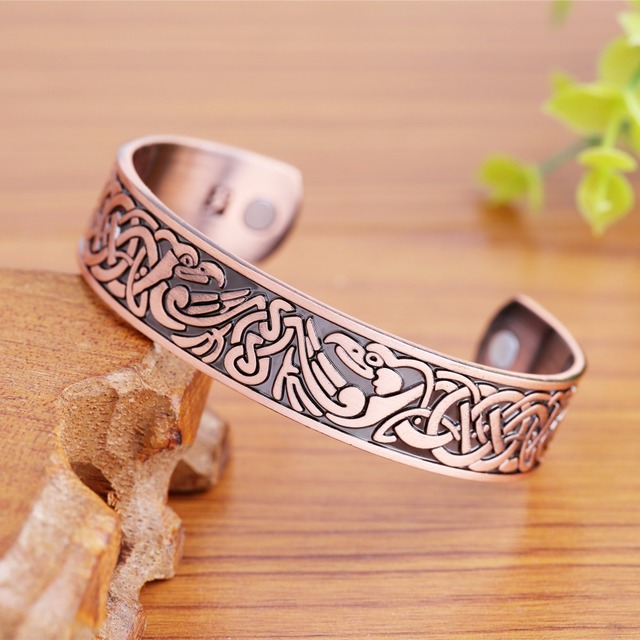 Copper color unisex health therapeutic phoenix pattern magnetic cuff bangles bracelet