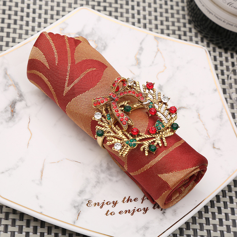 10pcs Metal Bow Napkin Buckle Creative Golden Leaf Napkin Ring Hotel Napkin Circle Cloth Circle Christmas Button