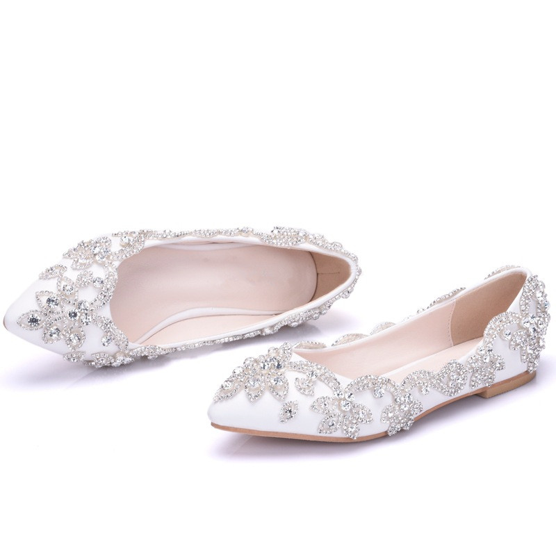 2019 New Spring Summer Luxury Women Crystal Flats Slip On Flats Office Lady Fashion Rhinestone Wedding