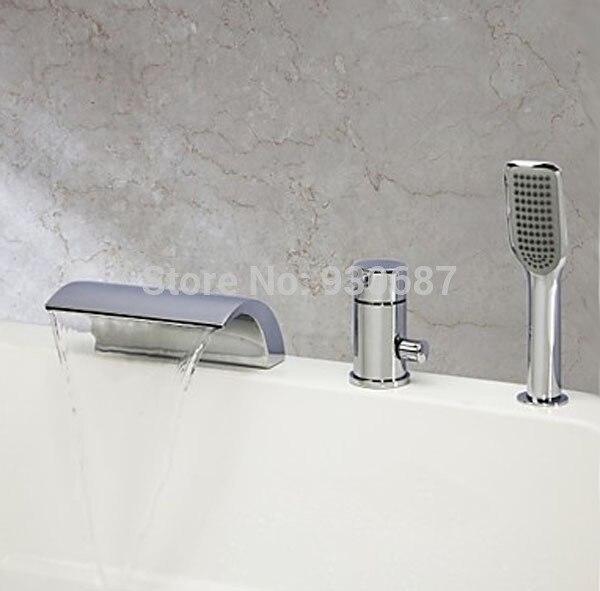 Contemporary Chrome Finish Bathroom Single Handle Tub Faucet With Hand Shower niko 50pcs chrome single coil pickup screws