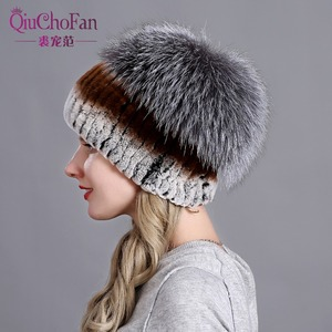 Image 3 - Womens Fur Hat Russian Knit Cap Hat Female Winter Rabbit And Fox Hat Real Fur Hat Caps Winter Women Ski Cap Protection Ear