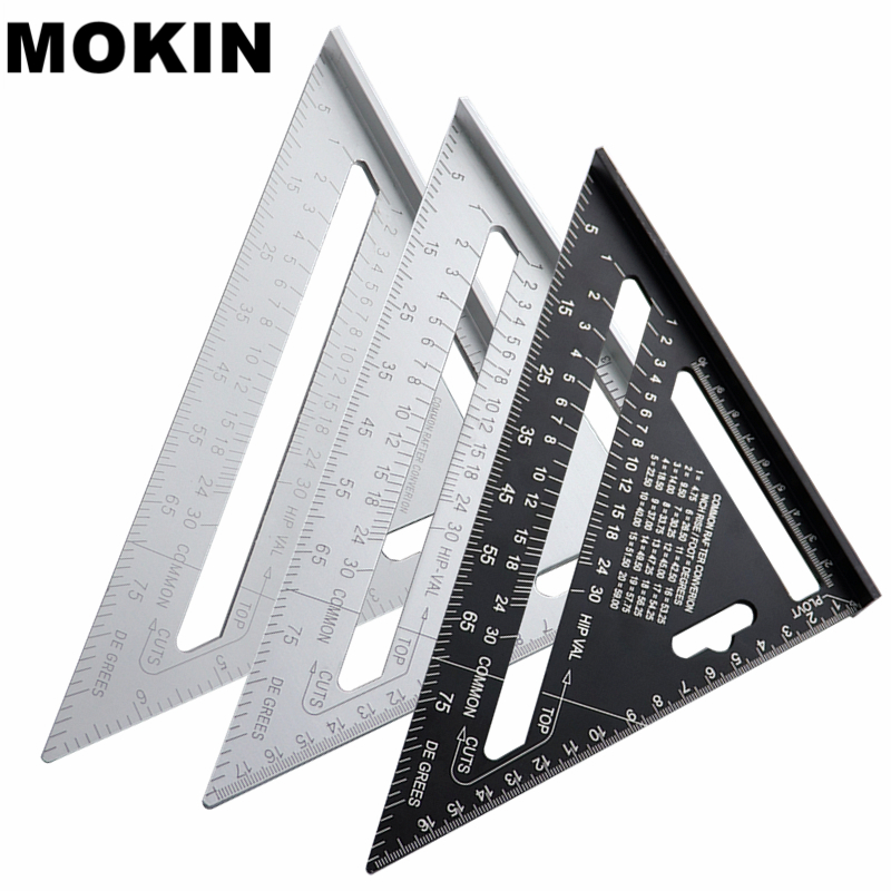7'' Aluminum Alloy Triangle Ruler Angle Protractor Miter Speed Square Measuring Ruler For Building Framing Woodworking Tools|Gauges| |  - title=