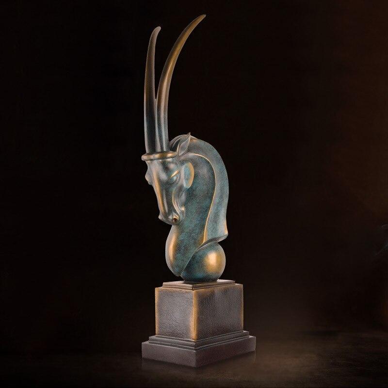 Tête de mouton abstraite européenne ornements décorations pour la maison, chèvres classiques, porche, salon, salle d'étude, HALL d'exposition