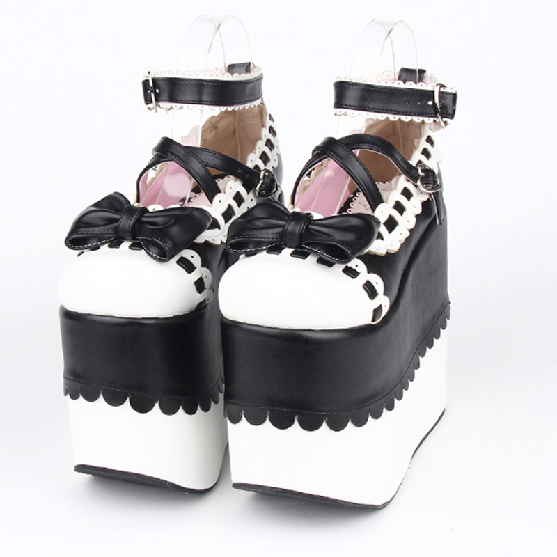 Plus Size female spring anime cosplay lolita shoes women Wedges Sandals high heels leather Princess platform shoes
