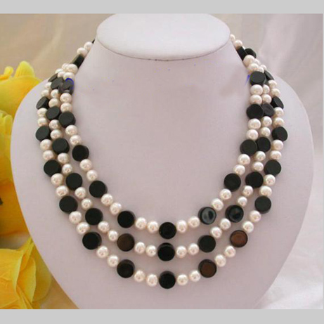 Gorgeous Pearl Jewellery,3Rows 8mm Round Black Agates White Freshwater Pearls Necklace,Free Shipping цена и фото