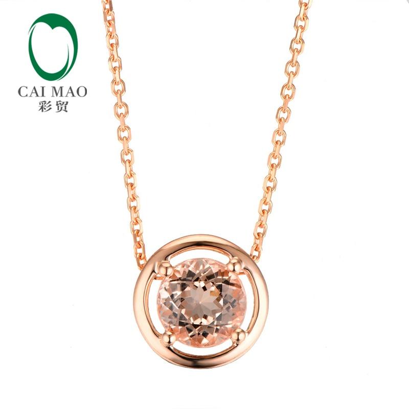 CaiMao 18KT/750 Or Rose 1.88 ct Naturel SI Morganite Engagement Précieuses Pendentif et 18 Chaîne Bijoux