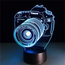 3D светодиодный ночной Светильник Камера фигурку 7 цветов сенсорный оптический Иллюзия настольная лампа для дома украшения модель