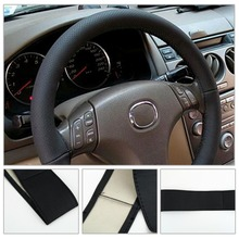 38CM DIY Steering Wheel Covers soft Leather braid on the steering-wheel of Car With Needle and Thread Interior accessories diy soft micro fiber leather 38cm car steering wheel cover with needle and thread braid on the steering wheel cover accessories