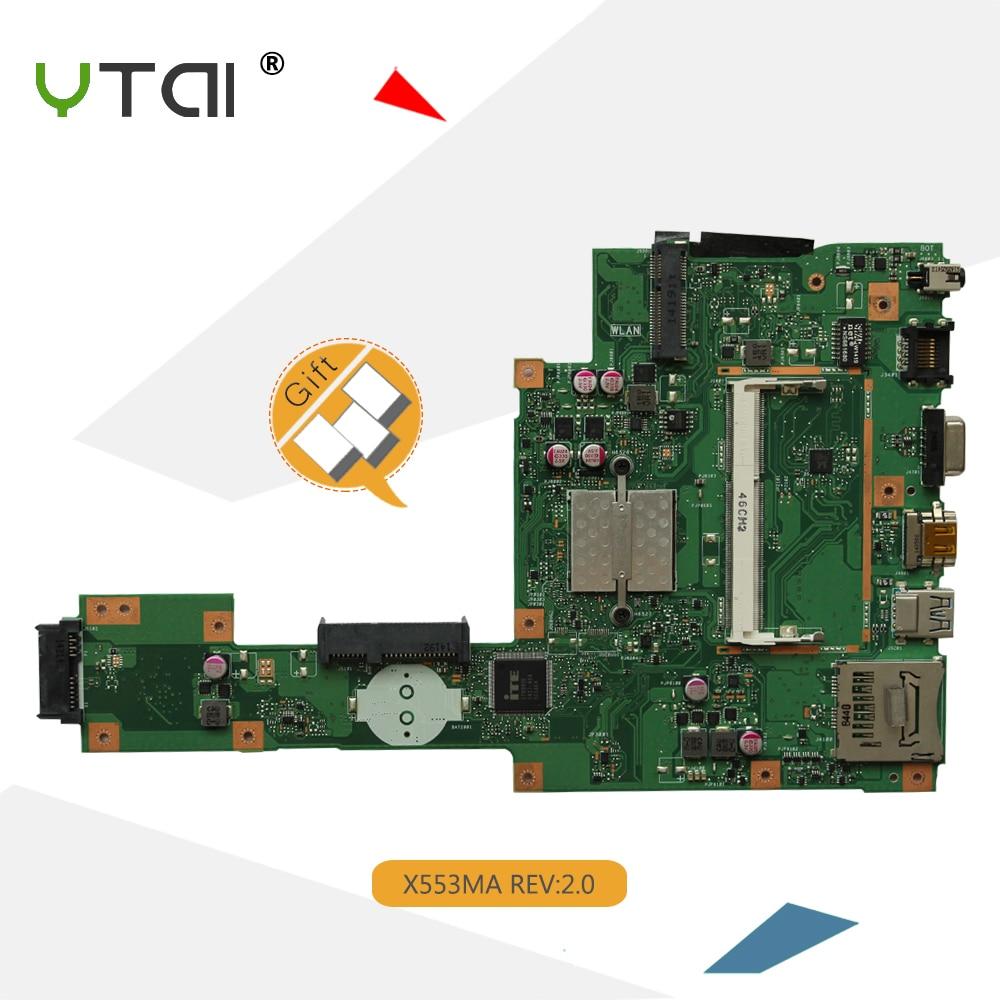 YTAI X553MA X503M Mianboard FOR ASUS X503M F553MA F553M X553MA laptop motherboard with SR1W4 N2830U REV2.0 USB3.0 mainboard клавиатура topon top 100495 для asus x553m x553ma k553m k553ma f553m f553ma black