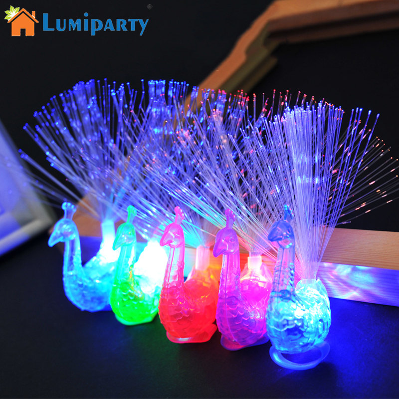 Plastic Creative Child Peacock LED Fiber Finger Night Light Party Toy For Gift