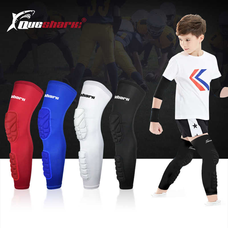 Kids Compression Sports Long Baketball Kneepad Leg Sleeve Teenagers Crashproof Honeycomb Knee Support Children Soccer Shin Guard