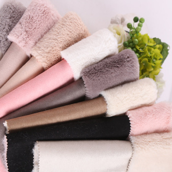 Suede composite rabbit fur fabric faux fur fabrics 950grams per square