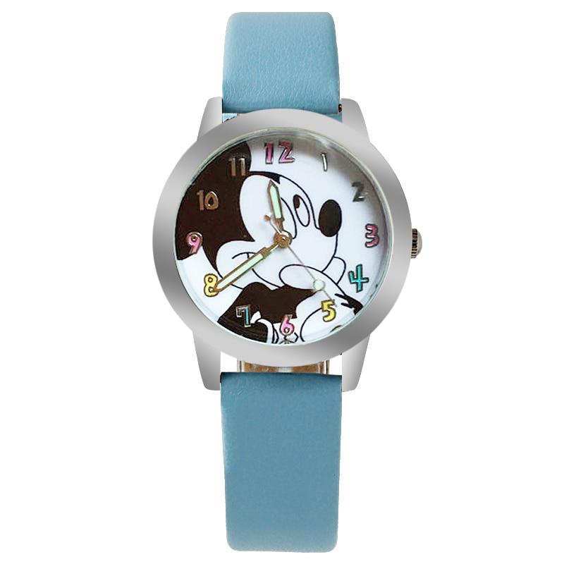 2019 Cute Cartoon Quartz Wristwatch Children Leather Ladies Watch Mickey Schoolchildren Small Size Watches Kid Boy Girls Relojes