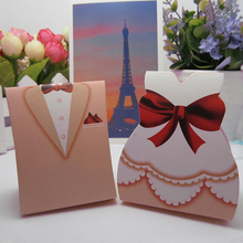 100Pcs/lot Pink Bride and Groom Gift Wraps Box Wedding Favors Candy Sugar Case Decoration Mariage