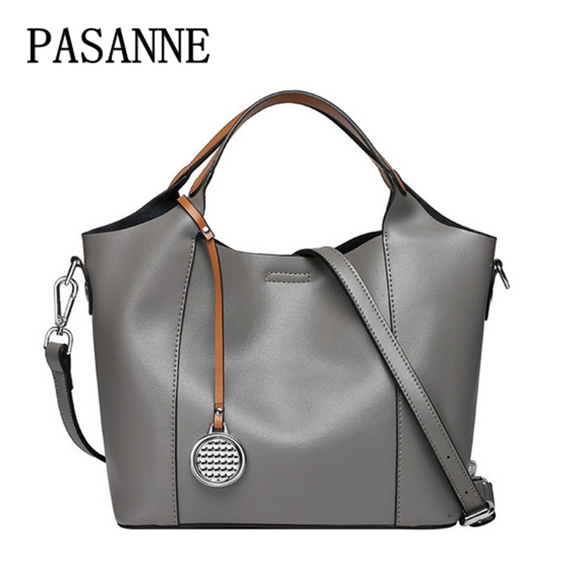 New Woman Handbags Bag PASANNE 2017 Brand Casual Fashion Leather Girl Tote Female Genuine Leather Women Handbag Shoulder BagsNew Woman Handbags Bag PASANNE 2017 Brand Casual Fashion Leather Girl Tote Female Genuine Leather Women Handbag Shoulder Bags