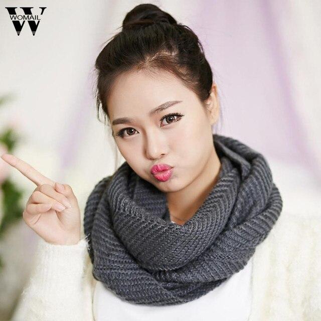зимний женский шарф женский теплый вязаный шарф с кольцом шарф