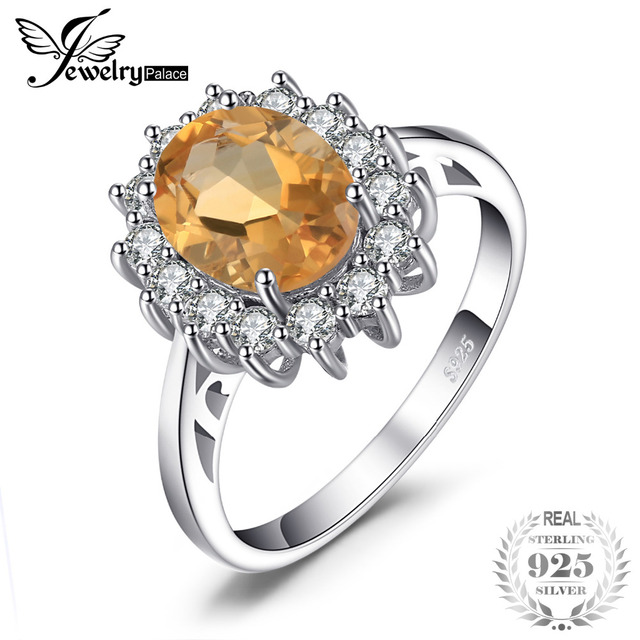 JewelryPalace 2.3ct Princess Diana William Kate Middleton's Natural Citrine Ring