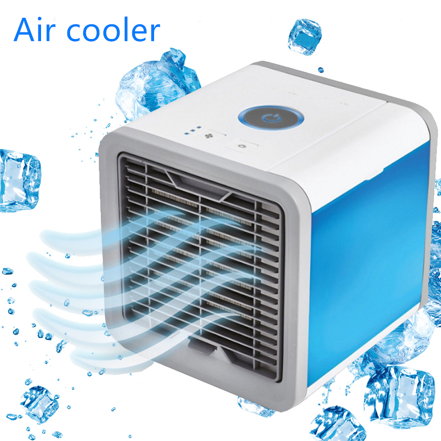 USB Mini Portable Air Conditioner Humidifier Purifier 7 Colors Light Desktop Air Cooling Fan Air Cooler Fan For Office Home(China)