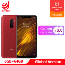 В наличии глобальная версия Xiaomi PocoPhone F1 Poco Phone 6 ГБ 64 Гб Snapdragon 845 6,18 дюйма полный экран двойная задняя камера 20 Мп фронтальная