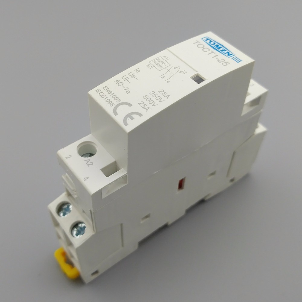 TOCT1 2P 25A 110V COIL 50//60HZ Din rail Household ac contactor 2NO