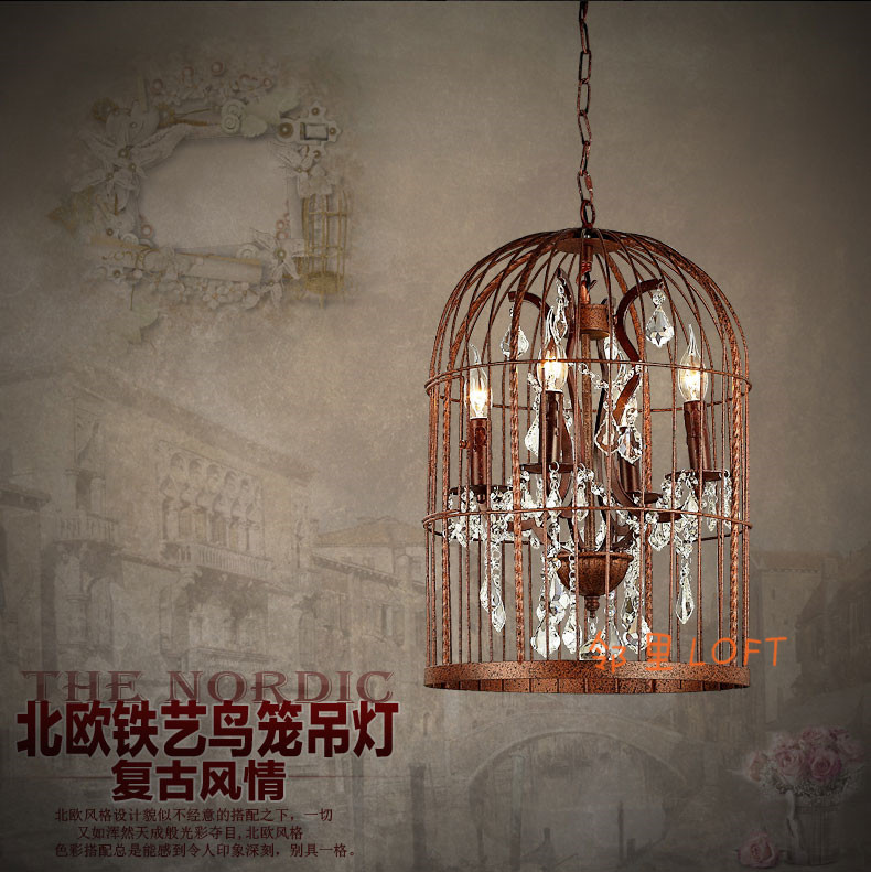 American loft country Nordic retro birdcage nostalgia crystal pendant light living room hotel Iron bar hanging light lamp loft iron pendant light indutrial vintage loft bar cafe restaurant nordic country style birdcage pendant lights hanging lamp