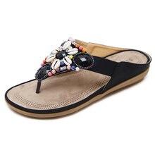 1296c7131bdfb4 LAKESHI 2018 Bohemian Women Sandals Summer Shoes Fashion Woman Flats Sandals  Gemstone Floral Beaded Flip Flops